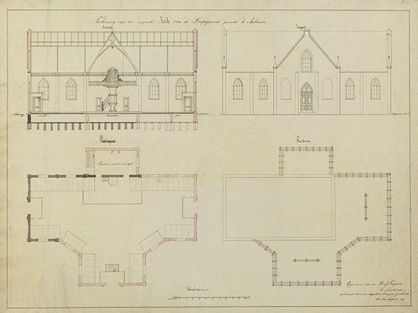 DGA tekening 1867 Vergrooting Doopsgezinde kerk Aalsmeer J. Scholten